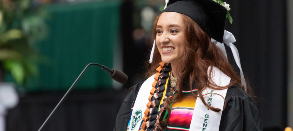 Janae Brown delivers the student speech at Colorado State University's College of Liberal Arts 2019 Spring Commencement. May 17, 2019